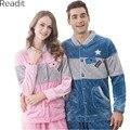 Mujeres hombres Parejas Unisex Otoño Invierno Pijamas de Franela Espesar de Dos Piezas ropa de Dormir Pijamas Homewear Conjuntos PA1739