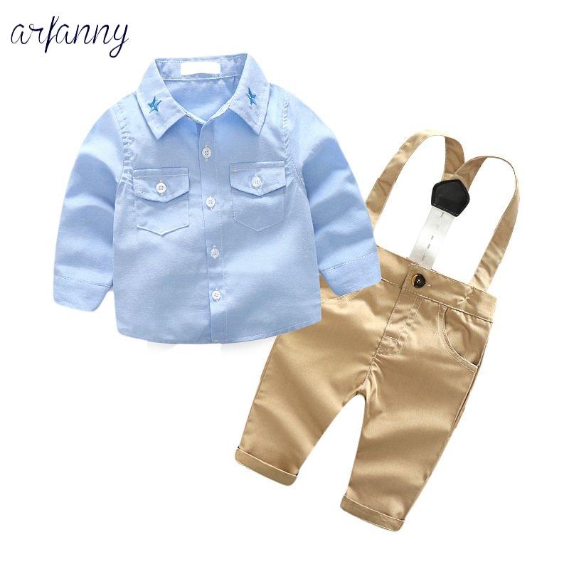 Bebê Meninos Ternos Roupas de Outono Moda infantil ClothingGentleman Terno do bebê Arco céu azul Gravata camisa + Calça Cinta Neonatal Conjunto