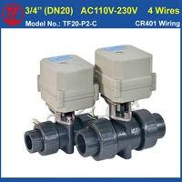 DN20 Electric PVC Valve TF20 P2 C AC110V 230V 4 Wires BSP NPT 3 4 PVC