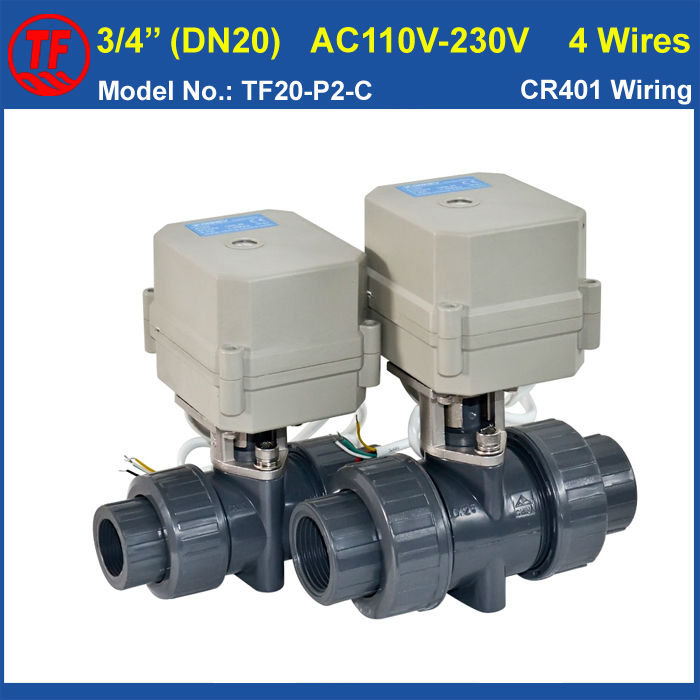 DN20 Electric PVC Valve TF20-P2-C AC110V-230V 4 Wires  BSP/NPT 3/4'' PVC Motorized Valve 10NM On/Off 15 Sec Metal Gear CE IP67 time electric valve ac110v 230 3 4 bsp npt for garden irrigation drain water air pump water automatic control systems
