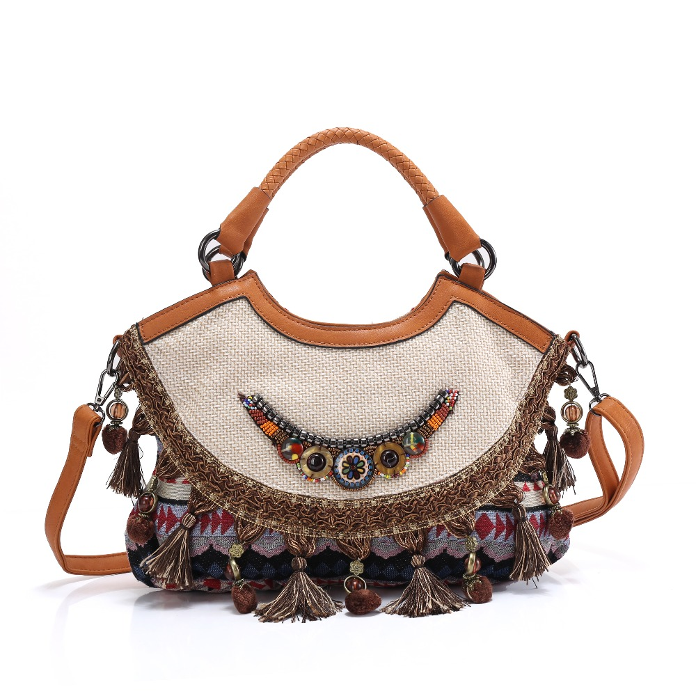 Bohemian telas hippies vintage canvas handbag with hanging drop shoulder bag tassels national embroidery ethnic shoulder bag 2016 summer national ethnic style embroidery bohemia design tassel beads lady s handbag meessenger bohemian shoulder bag page 2