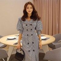 Korea Style Women Elegant Plaid Dress Spring Autumn Fashion Double Breasted Office Work Dress Ladies A Line Dresses Ds50665