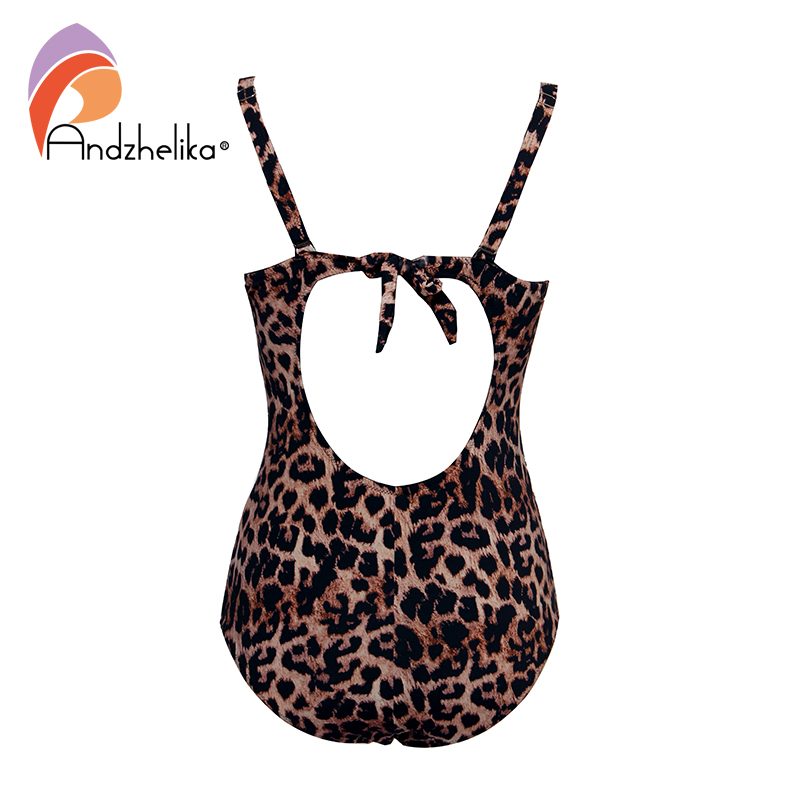 Image 3 - Andzhelika Sexy Leopard One Piece Swimsuit Plus Size Swimwear Mesh Swimwear Bathing Suits Bodysuit womens swimming suitBody Suits   -