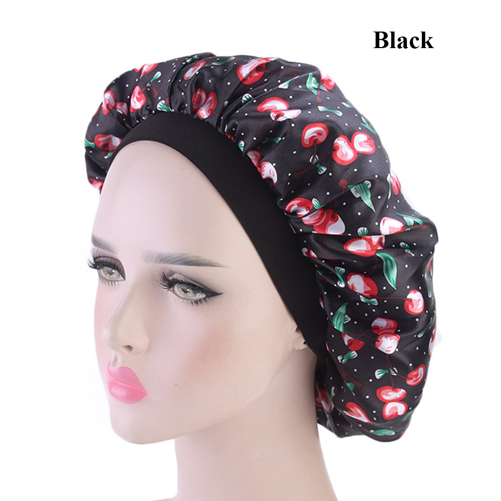 7fa24189 1PC Fashion Satin Bonnet Makeup Shower Cap Night Sleep Hat Elastic Hair  Loss Chemo Cap Head Wraps Wide Band Ladies Cloth Turban
