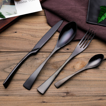Drop Shipping Black Cutlery Set Stainless Steel Dinnerware Tableware Silverware Set Dinner Knife Fork Western Food Set