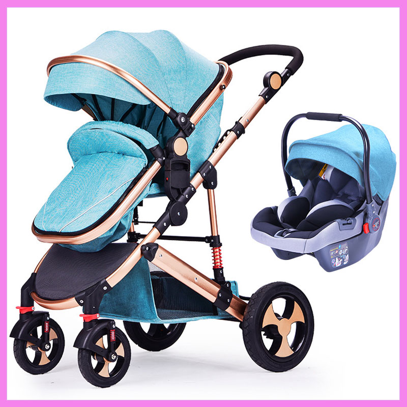 Baby Stroller 3 In 1 High Landscape Baby Stroller Newborn Baby Car Seat Cradle Baby Carriage Travel System Car Seat Stroller new activity spiral stroller car seat travel lathe hanging toys baby rattles toy