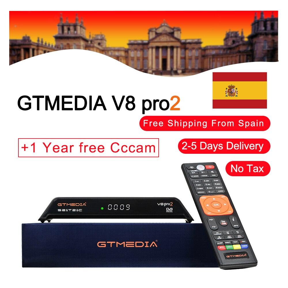 GTMEDIA date freesat V8 PRO2 H.265 DVB-S2 + T2/câble/ISDBT intégré Wifi HD 1080 P TV récepteur Satellite + 1 an europe cccam