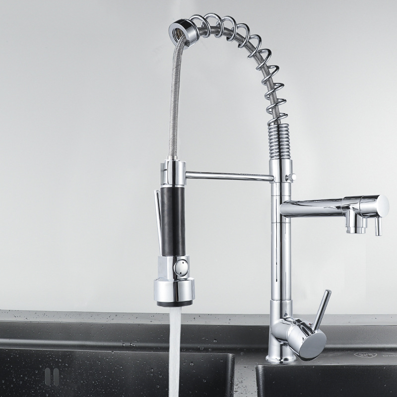 Kitchen Faucets Sink Hot And Cold Mixed Multi-Function Kitchen Pull Out Faucets The Installation In Faucet Deck Plate Rotate 360