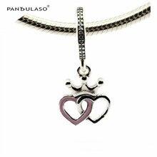 Corazones corona rosa colgante de esmalte perlas mujeres diy esterlina de plata-joyería apta pandora encantos pulseras de plata 925 original regalos