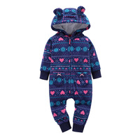 2017 Winter Baby Romper Warm Jumpsuit Infant Baby Boy Girl Pajamas Toddler Clothing Kids Clothes Baby