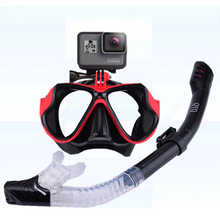 цена на Snorkeling Mask Snorkel Tube Set Diving Mask Anti-Fog Swimming Diving Goggles Snorkel Tube For GoPro Underwater Sports Camera