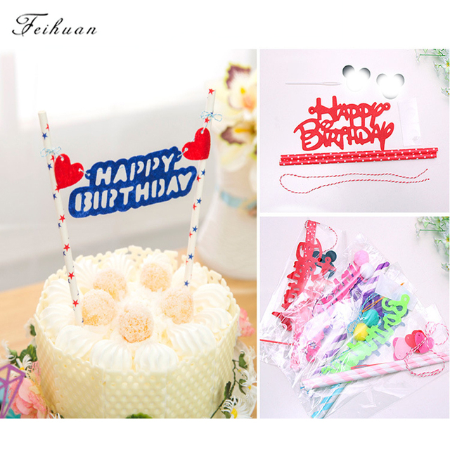 1pcs Cute Mouse Design Theme Happy Birthday Flag With Paper Straw