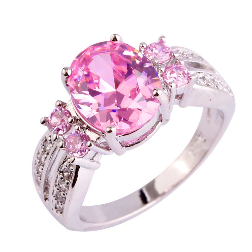 Nice Fashion Jewelry Pink White CZ Silver Color Ring Sweet Women ...