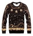 Outono inverno Novo Versa Hop estrelas corrente de ouro das mulheres dos homens 3d imprimir pullovers Galaxy Moletons Hoodies Tops suits