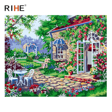 RIHE Garden Flower Diy Painting By Numbers Abstract House Oil Painting On Canvas Cuadros Decoracion Acrylic Wall Picture Art rihe river house diy painting by numbers abstract garden oil painting on canvas cuadros decoracion acrylic wall picture for room