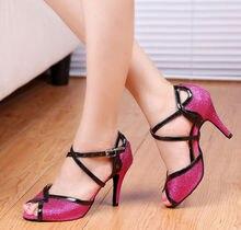 Ladies Pink Glitter Ballroom Dance Shoes Latin Samba Salsa Tango Dance Shoes High Heels
