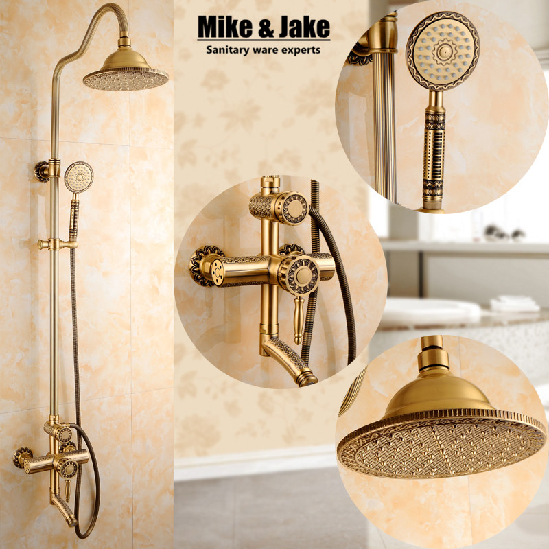 New Arrival luxury Retro Bathroom Wall Mounted Carving Hand Held Antique Brass Shower Head shower Kit Shower Faucet Set SRH9988 цена