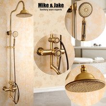 New Arrival luxury Retro Bathroom Wall Mounted Carving Hand Held Antique Brass Shower Head shower Kit Shower Faucet Set SRH9988