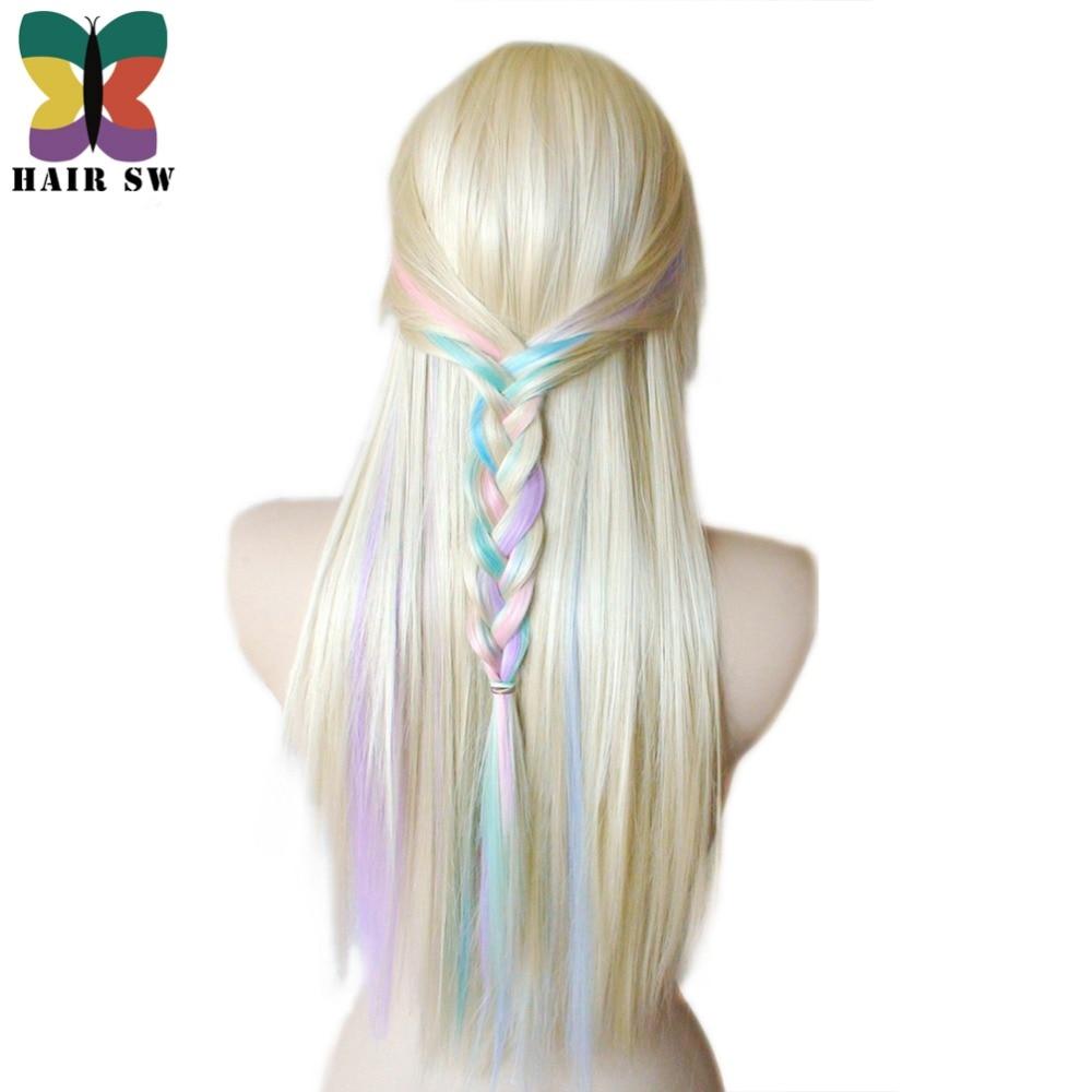 HAIR SW Long Straight Synthetic Hair Fairy prinsessa peruk - Syntetiskt hår - Foto 6