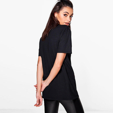 HDY Haoduoyi 2017 New Fashion Summer T-shirt Causal Black Cut Out  Women Tops V-neck Character Print Solid Cotton Female T-shirt