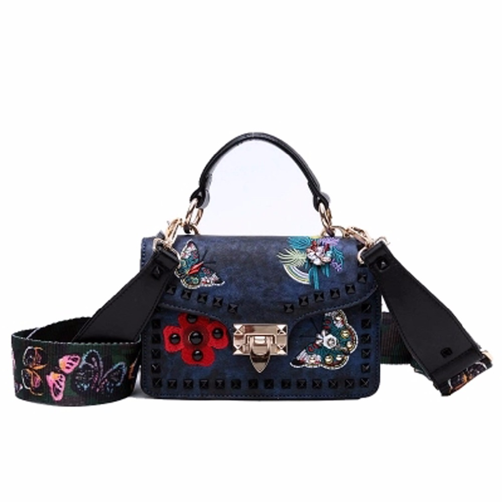 Brand Butterfly with Wide Strap and Rivet Decorated Bolsa Rivet Women Shoulder Bag Crossbody bags Embroidery Handbags 880
