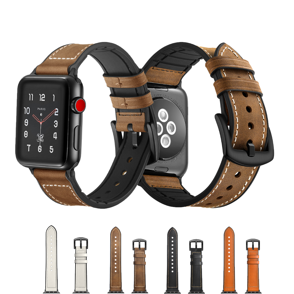 CRESTED Genuine Leather+silicone Strap for Apple Watch band 42mm 38mm iwatch series 3/2/1 bracelet wrist belt watch accessories цена