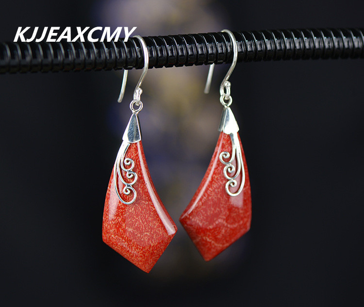 S925 sterling silver earrings wholesale ethnic Chinese style antique grass coral earrings female models shipping s925 pure silver personality female models new beeswax