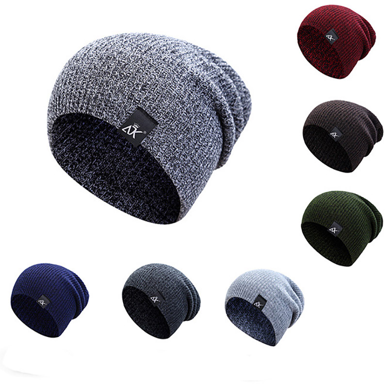 Acrylic Mixed Color Knitted Hats For Woman Unisex Winter Warm Skullies Beanies For Ladies Hip Hop Soft Caps For Boys