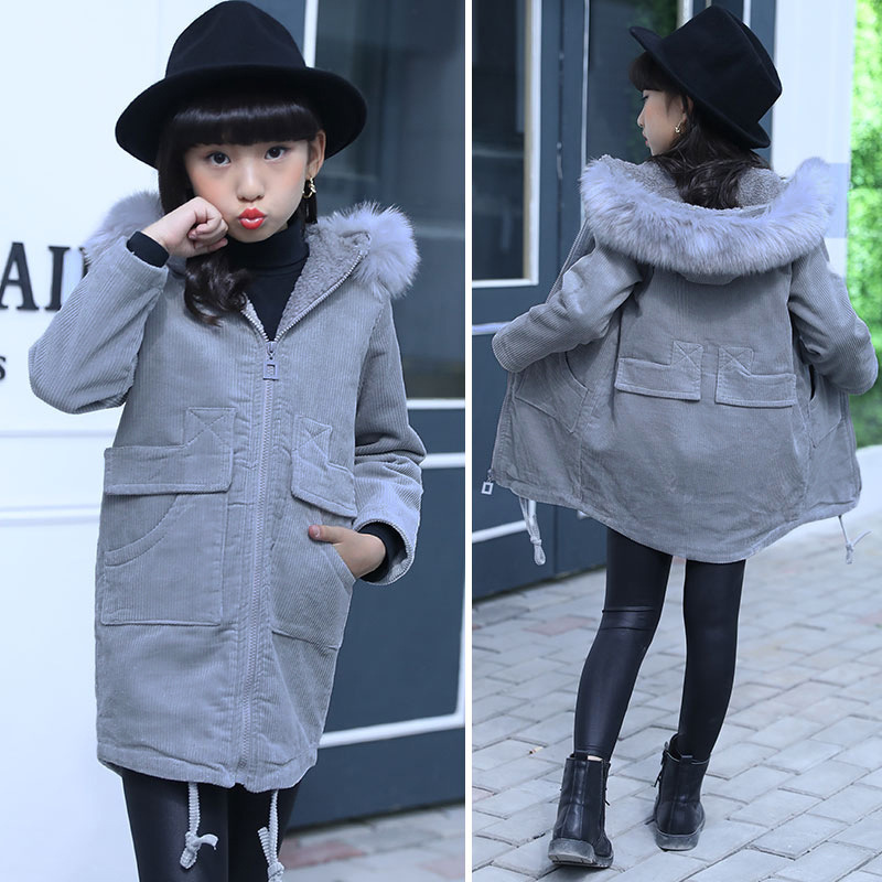 2018 New Autumn Winter Children Warm Cotton Jackets For Girls Hooded Fur Coat Girl Collar Zipper Thick Outerwear Baby Parka new men jackets winter cotton padded jacket men s casual zipper warm parka fashion stand collar thicken print outerwear coat
