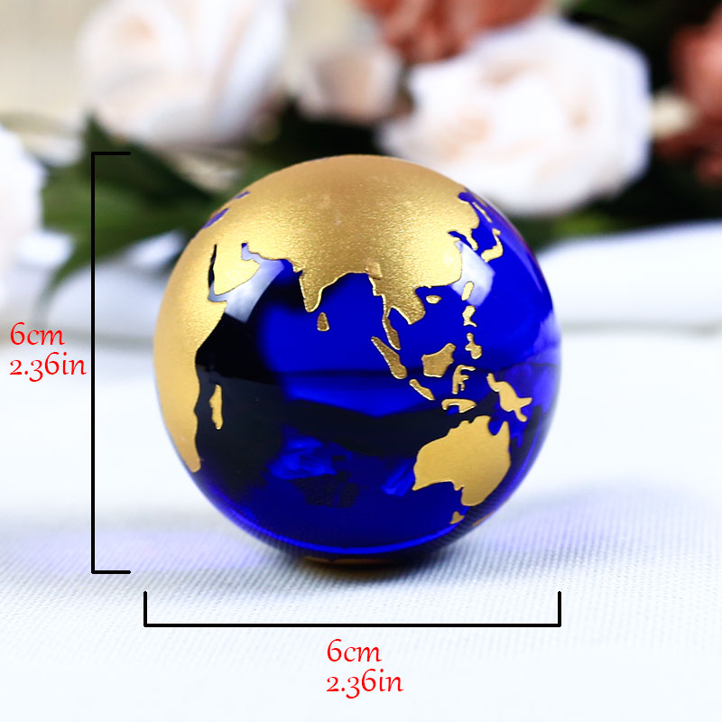 60mm Blue Colored Earth Crystal Model Ball Glass Globe With a Base - Home Decor - Photo 5
