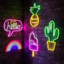 Бар неоновый светильник вечерние настенный подвесной светодиодный неоновый знак для рождественского окна магазина художественный Настенный декор неоновый светильник s красочный неоновый светильник с питанием от USB