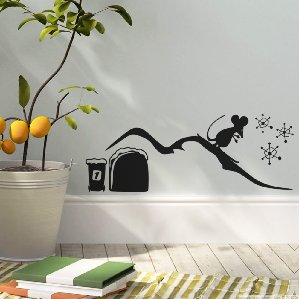 boys room decor mouse skating wall sticker boys rooms decals kids room mural children christmas decoration