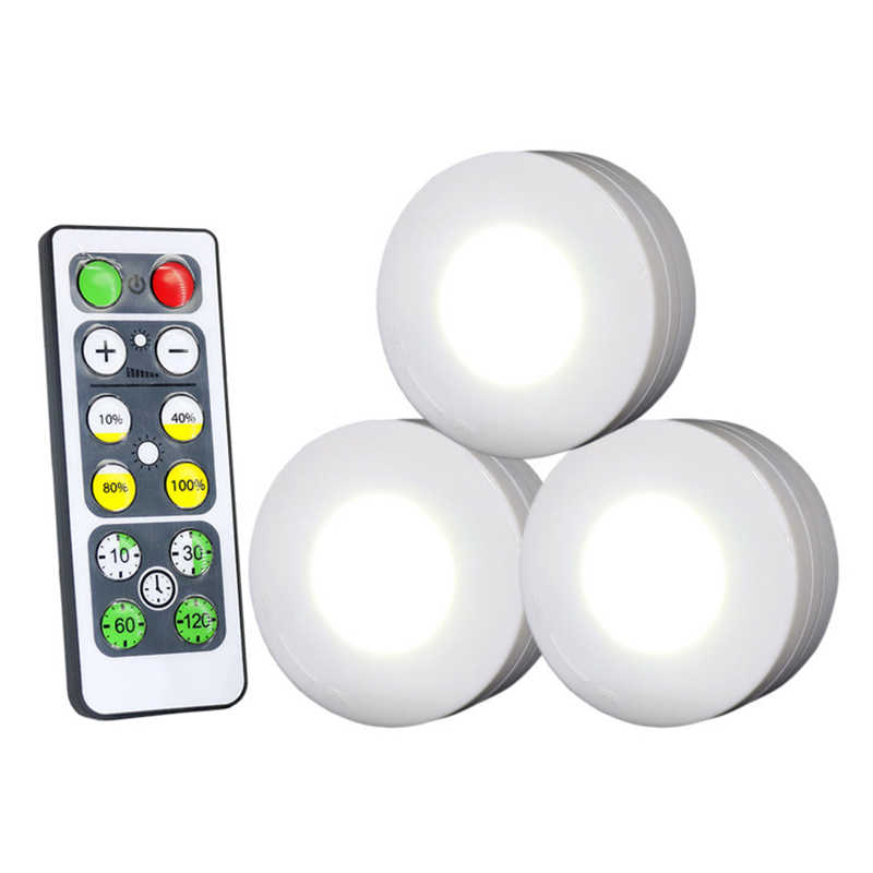 Wireless Dimmable Touch Sensor Led Under Kitchen Cabinets lights LED Puck Light For Close Wardrobe Stair Hallway Night lamp
