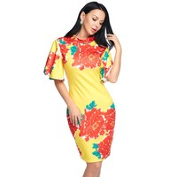 Women Sexy Bodycon Dress Summer Spring Floral Print Chinese Style Flare Sleeve Vintage Midi Dress Ladies