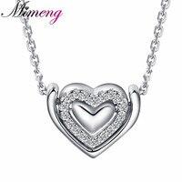 100% стерлингового серебра 925 Серебряные ожерелья Три в форме сердца Ожерелья и подвески Серебряные ювелирные изделия Ювелирные украшения
