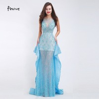 Finove Beading Evening Dresses 2017 New Styles Sexy See Through Tulle Chic Design Sweep Train Long