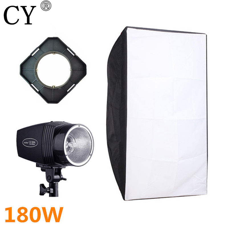 CY Photography Soft Box Flash Lighting Kits 180w 220v Strobe Light+50*70cm Softbox+Universal Mount Photo Studio Set Godox K-180A photographic soft box 30cmx160cm 12x64 strobe mono light softbox w speed ring 12 63in with bowens mount