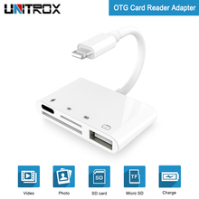 купить 4 in 1 Adapter For Lightning to Camera Reader Connection Kit Charging & USB OTG Data Sync For iOS 9.2-12 iPhone X 8 7/SD/TF/HUB дешево