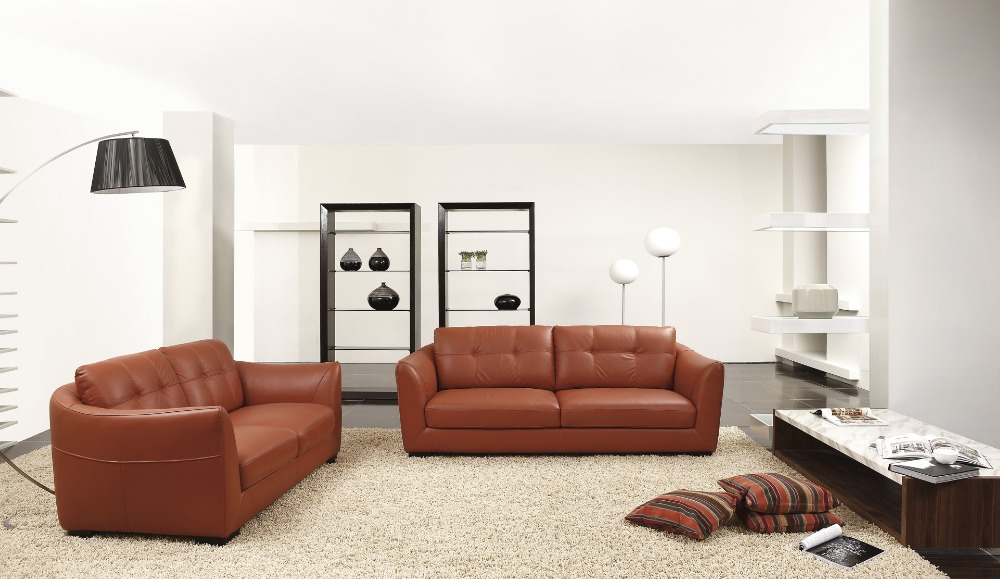 Cow genuine real leather sofa set living room sofa for Living room 2 sofas
