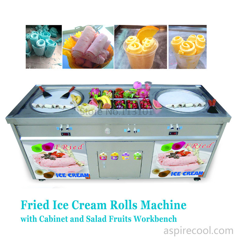 Double Pans Fried Ice Cream Machine 2 Round Pans Ice Cream Roll Making Machine with Salad Fruit Workbench 10pcs Tanks Cooling double pan fried ice roll pan machine stainless steel 45cm pan fried frying ice cream machine with salad fruit workbench 10pcs