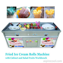 Double Pans Fried Ice Cream Machine 2 Round Pans Ice Cream Roll Making Machine with Salad Fruit Workbench 10pcs Tanks Cooling