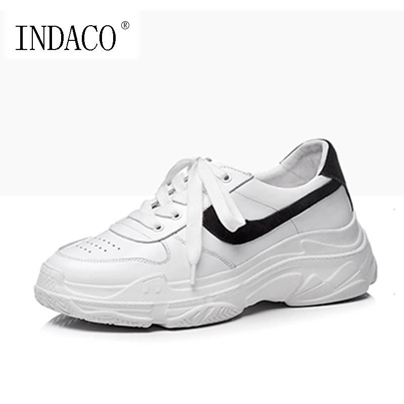 Platform Leather Sneakers for Women White Shoes Fashion Casual Footwear 6CM Zapatillas Deportivas Mujer Casual