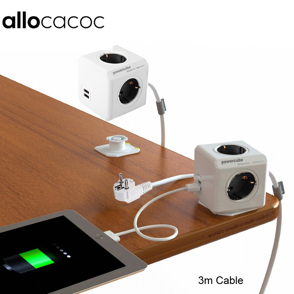 Allocacoc PowerCube Extended Power Socket DE Plug 4 Outlets 2 USB Ports Adapter with 300cm Cable & 150cm cable