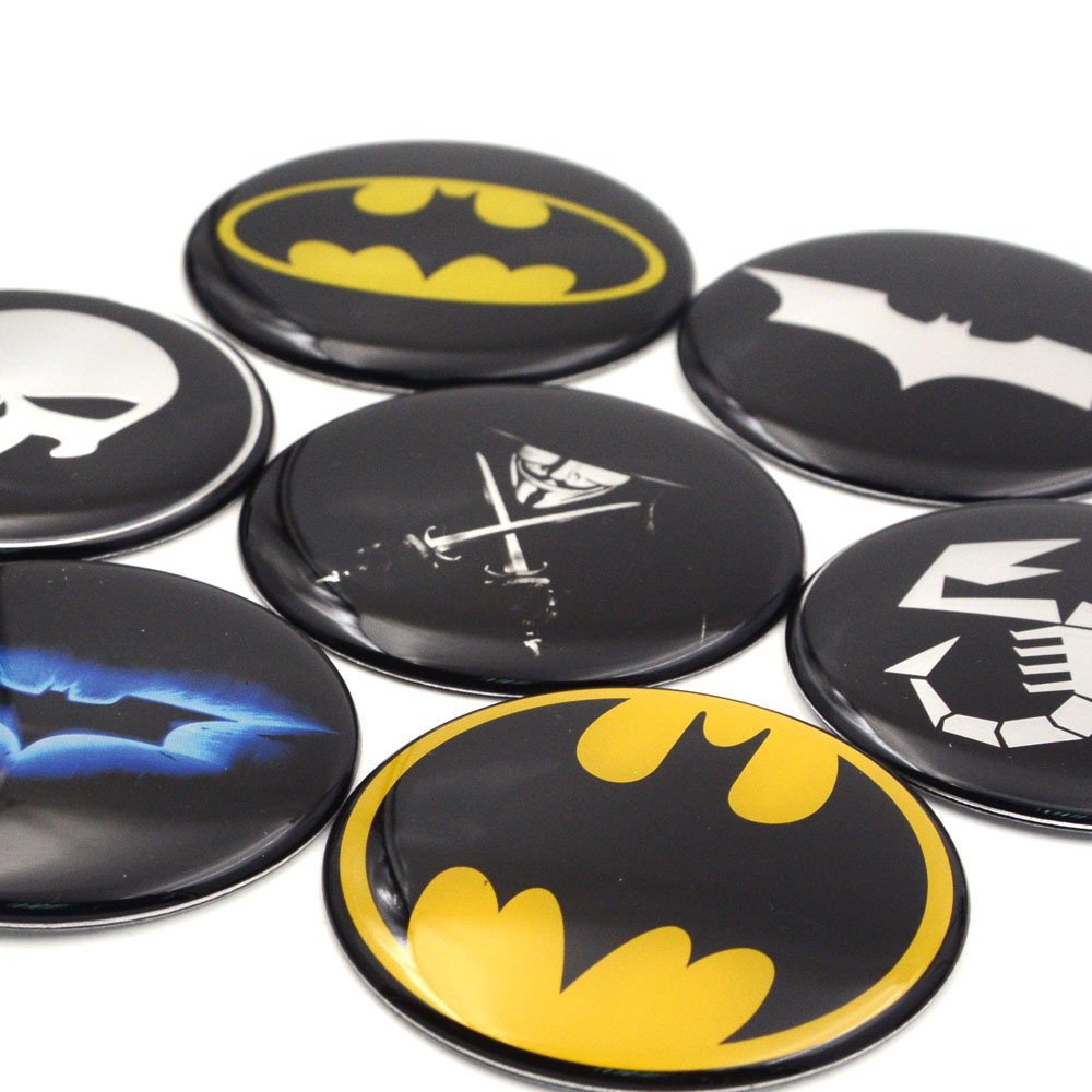 Image 3 - Gzhengtong 1pc 50mm 56mm 60mm 65mm 75mm Batman Vman Puniser Hellboy Scorption Skull Car Wheel Center Caps Sticker Emblem-in Car Stickers from Automobiles & Motorcycles