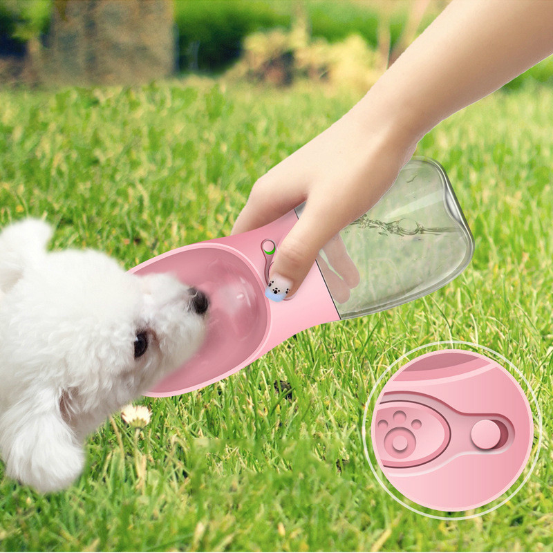 Newest Pet Dog Cat Water Bottle Portable Travel Cups Outdoor Feeder Water Drinking Bowl 350/550ML Small Large Dogs Pet Products 2