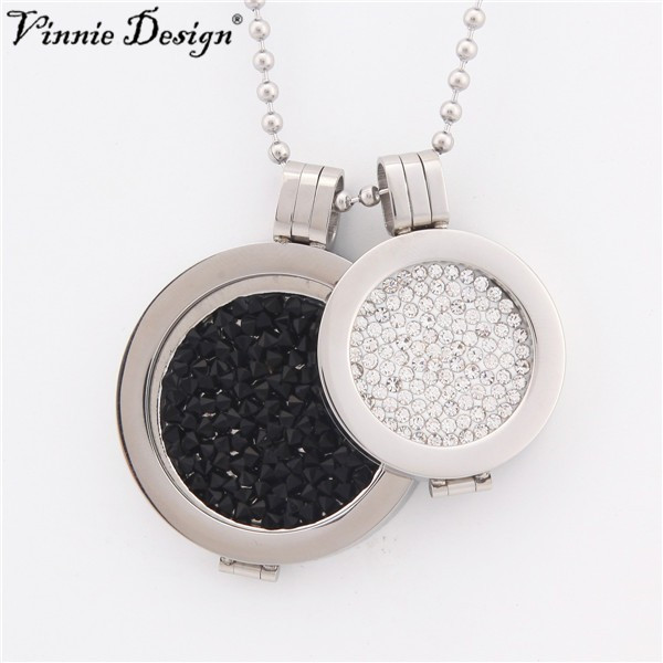 Vinnie Design Jewelry My Coin Pendant Necklace with 2 pcs Crystal Coins,2pcs Silver Pendants Coin Holder, 1pcs 80cm Ball Chain