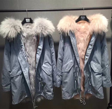 hot selling real fox fur parka coat with natural large raccoon fur collar winter warm hooded jacket