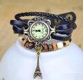 Лидер продаж Винтаж башня кулон из коровьей кожи часы-браслет для женщин женская одежда кварцевые наручные часы Relojes Mujer kow055 - фото