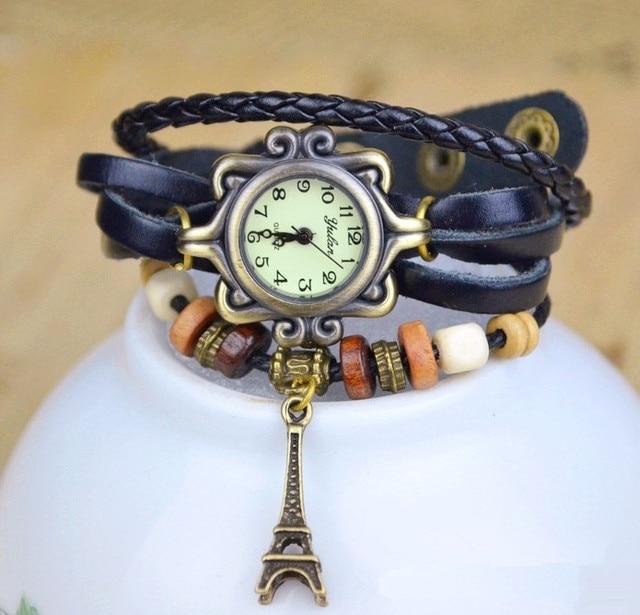 Hot Sales Vintage Tower Pendant Cow Leather Bracelet Watch Women Ladies Dress Qu