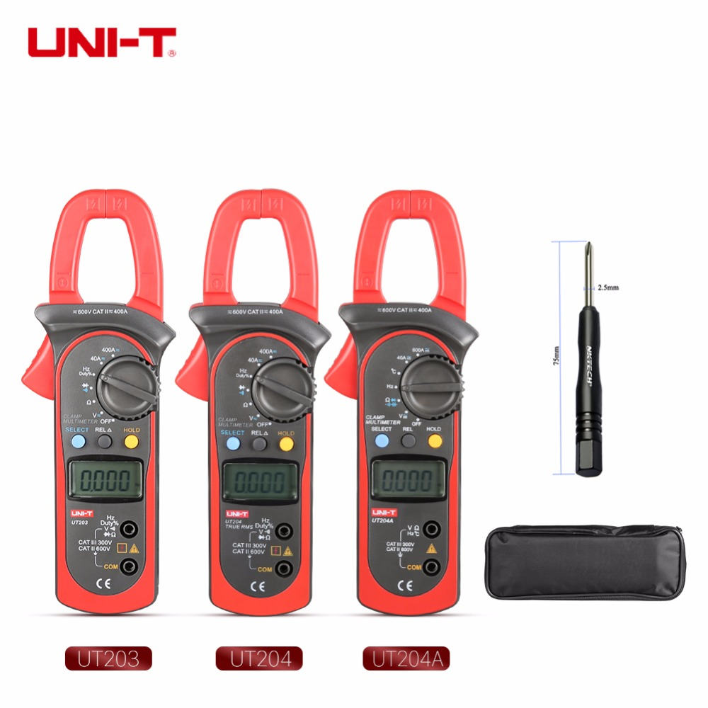 UNI-T UT203 UT204 UT204A Digital Clamp Meter Multímetro AC DC Volt Resistência Atual Ciclo de Freqüência de Teste de Diodo Gama Auto